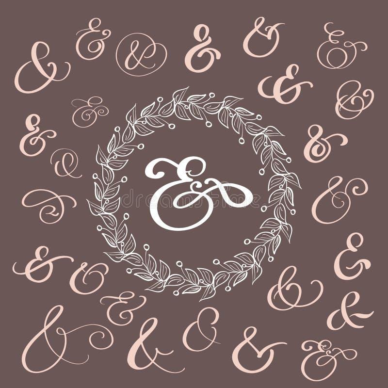 Uppsättning av et-tecken för garnering för kalligrafibokstävertappning för bokstäver och inbjudan Hand dragen typ vektor stock illustrationer