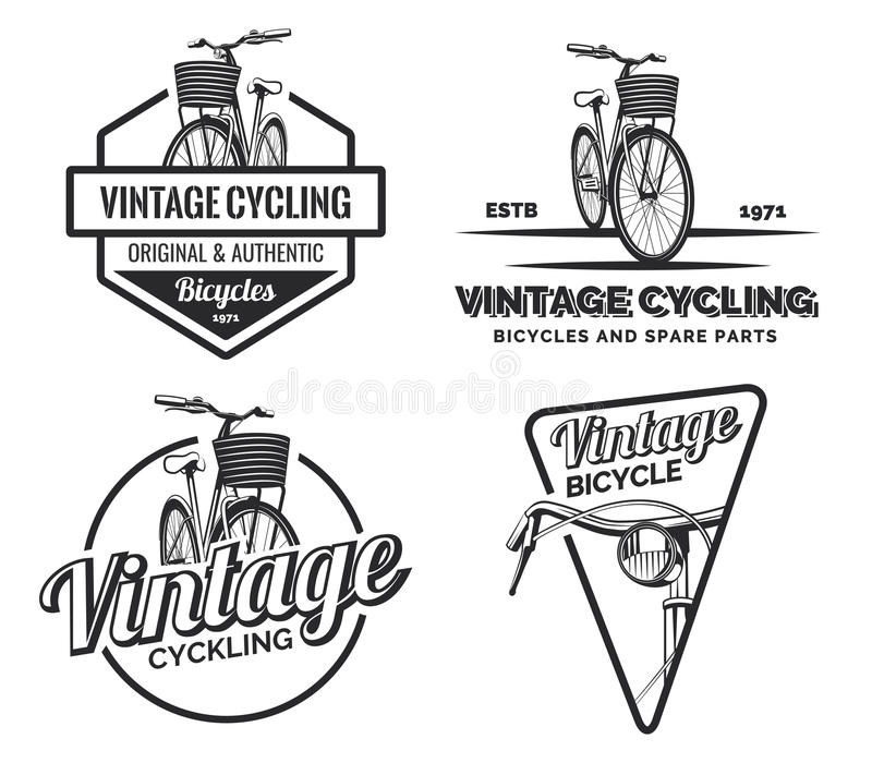 Uppsättning av etiketter, emblem, emblem eller logoer för tappningvägcykel vektor illustrationer