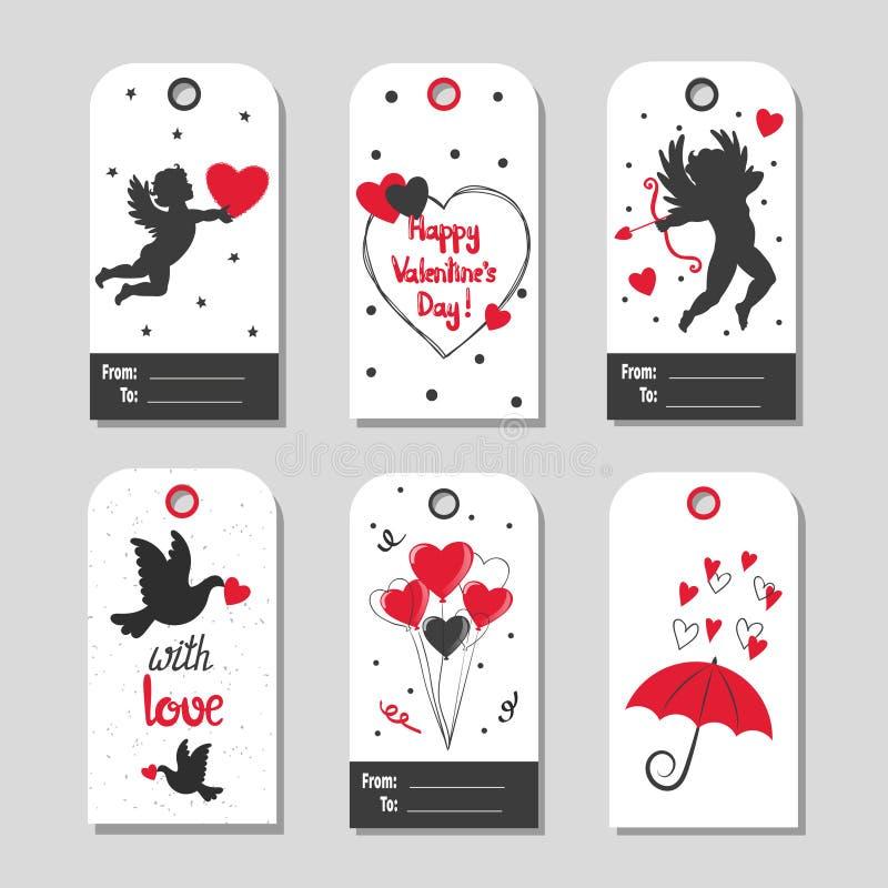 Uppsättning av etiketter för gåva för dag för valentin` s i röda och svarta färger stock illustrationer