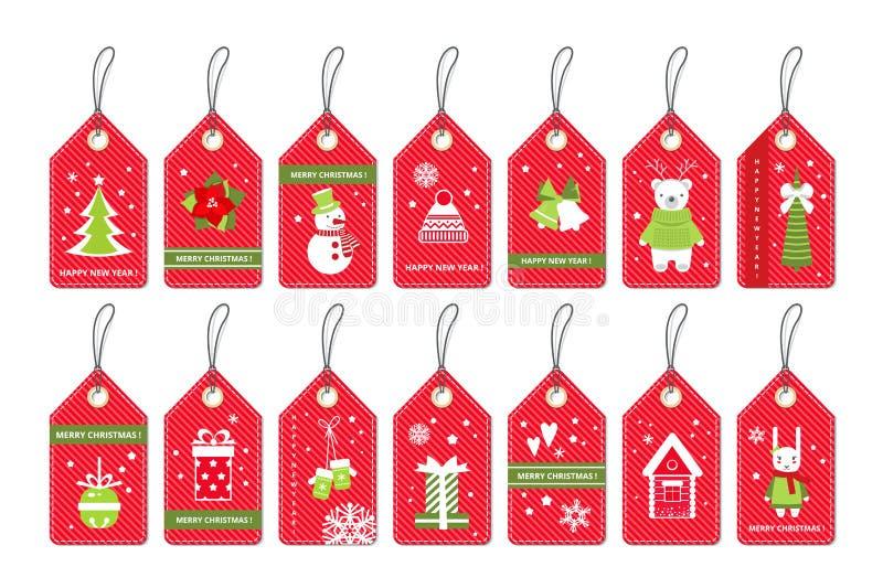 Uppsättning av etiketter för gåva för glad jul röda med partiobjekt vektor illustrationer