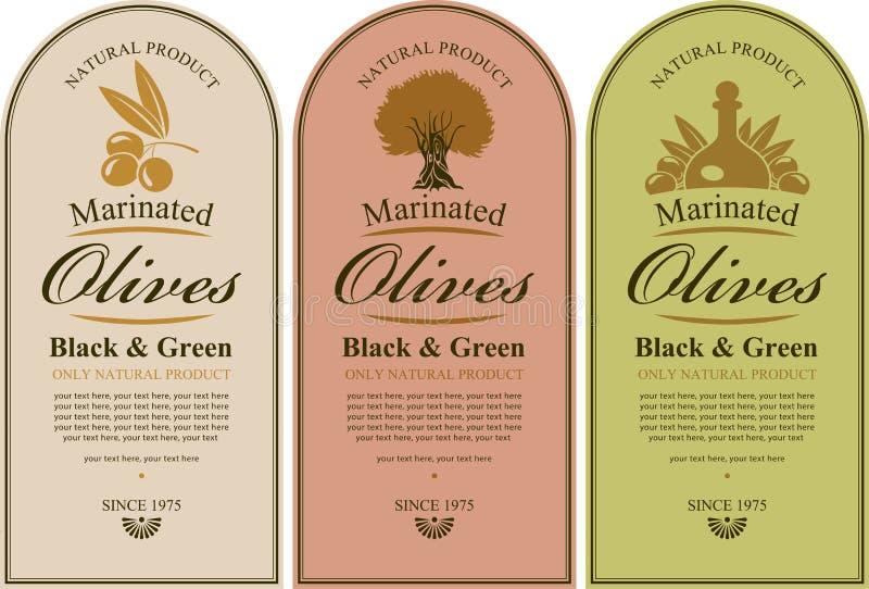 Uppsättning av etiketter för oliv vektor illustrationer