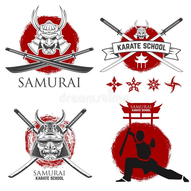 Uppsättning av etiketter för samurajkarateskola Ninja shurikens stock illustrationer