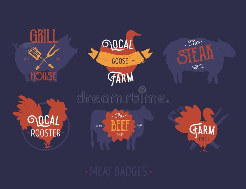 Uppsättning av etiketter för slaktlantgårdemblem Bruka köttgriskött, gåsen, nötköttvektorsymbol med text Tappninglogo stock illustrationer