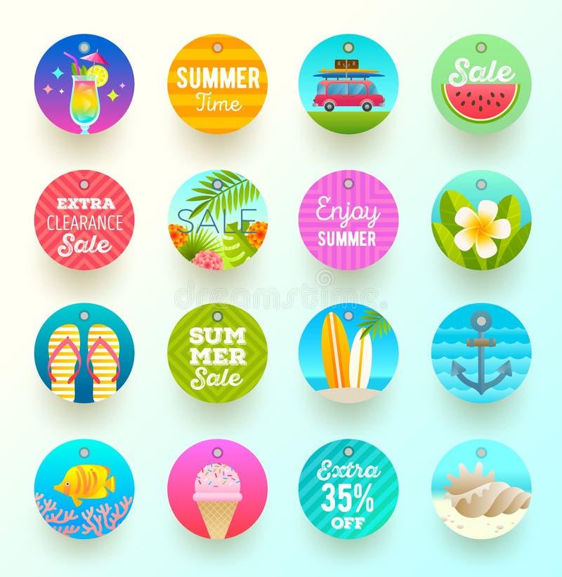 Uppsättning av etiketter för sommarsemester och lopp royaltyfri illustrationer