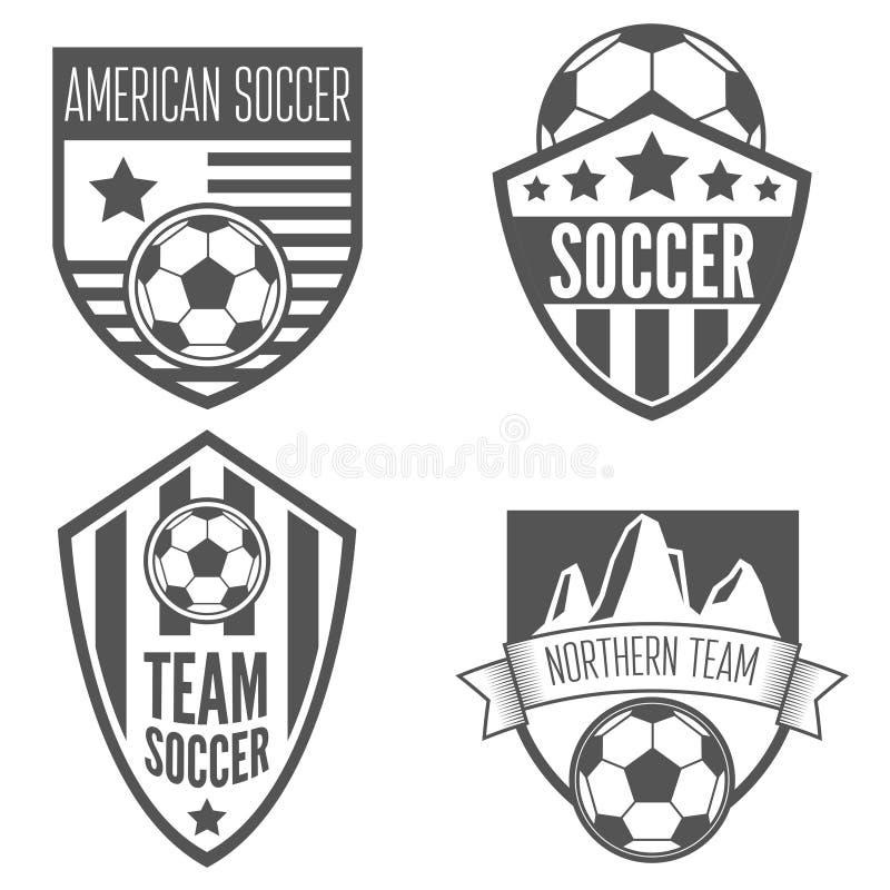 Uppsättning av etiketter för tappningfotbollfotboll, emblem och stock illustrationer