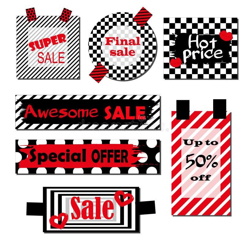 Uppsättning av etiketter med svartvit bakgrund och röda beståndsdelar Ljus design för rabattaffischer, reklamblad, kort, baner stock illustrationer
