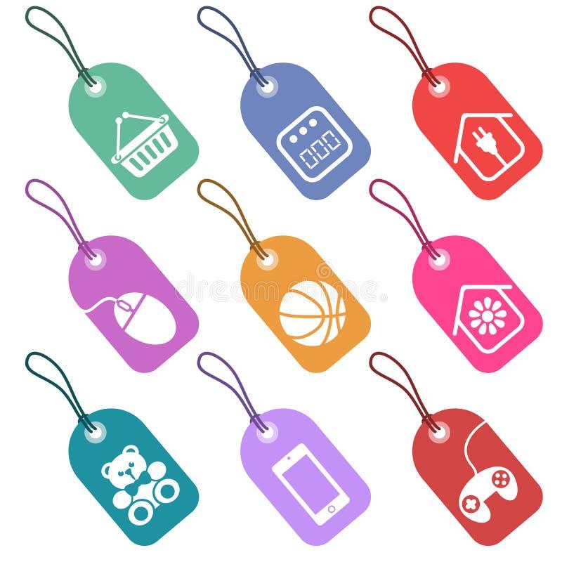 Uppsättning av etiketter med symboler för avsnitt av supermark stock illustrationer