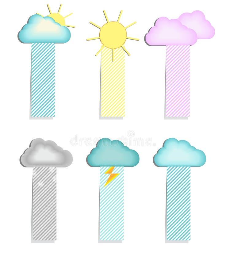 Etiketter med ett moln royaltyfri illustrationer