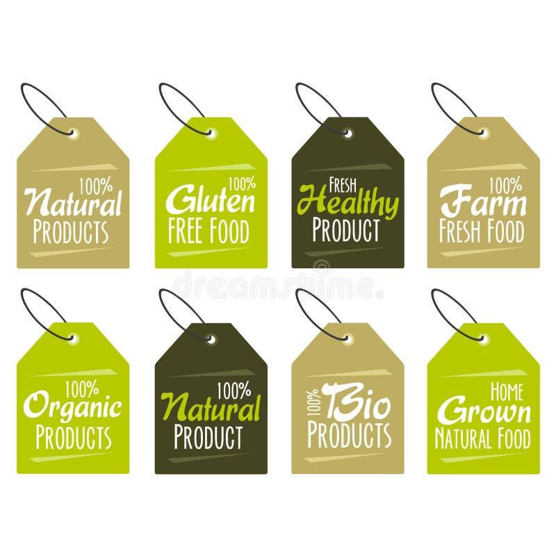 Uppsättning av etiketter och emblem för organiska, naturliga, bio och för eco vänliga produkter som isoleras på vit bakgrund EPS1 royaltyfri illustrationer