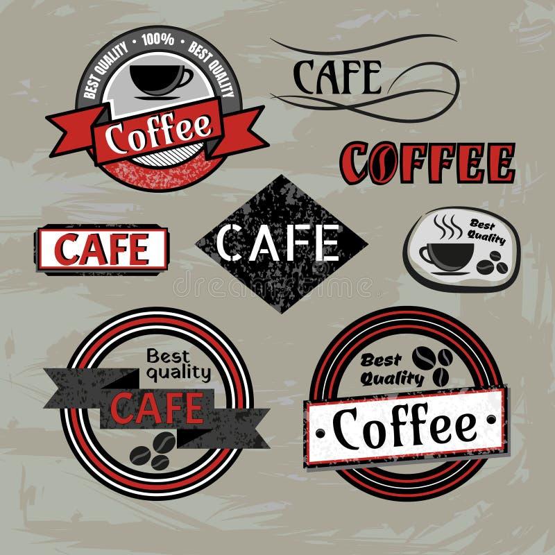Uppsättning av etiketter och logoer för emblem för vektorcoffee shopkafé royaltyfri illustrationer