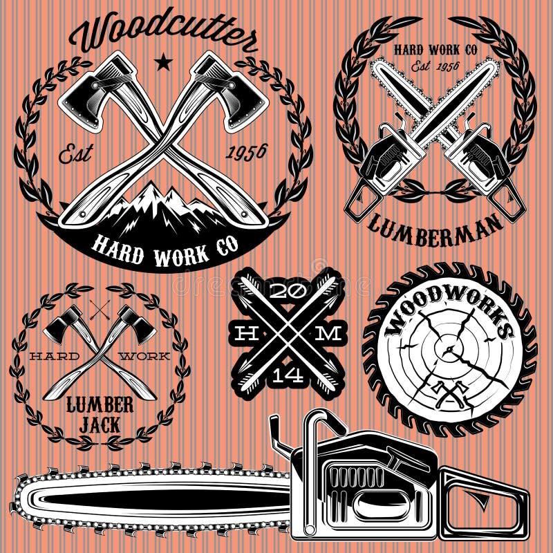 Uppsättning av etiketter på skogsarbetare som arbetar med trä stock illustrationer