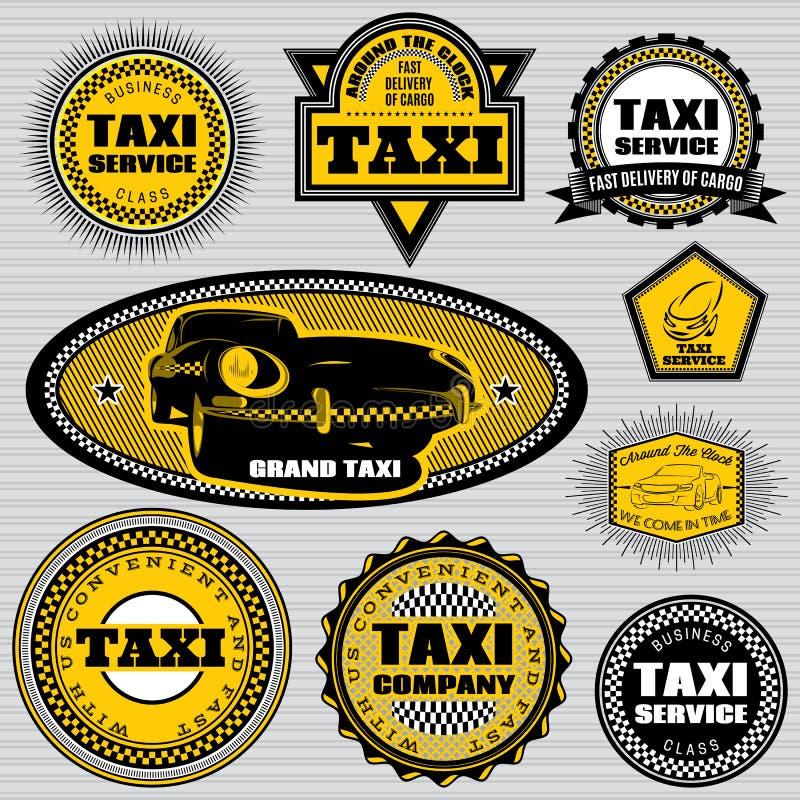 Uppsättning av etiketter till den ämnetaxien och transporten stock illustrationer