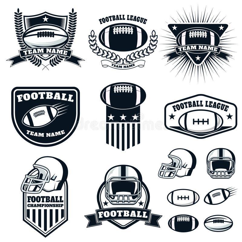 Uppsättning av etiketterna för amerikansk fotboll, emblem och designbeståndsdelar vektor illustrationer