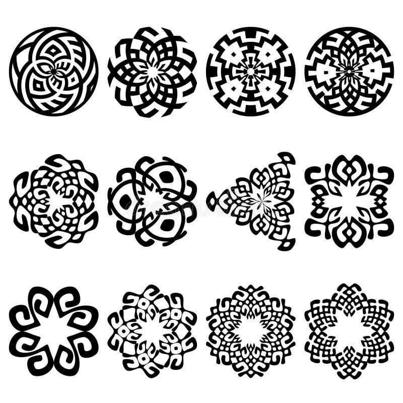 Uppsättning av 12 etniska blom- tecken och designbeståndsdelar royaltyfri illustrationer