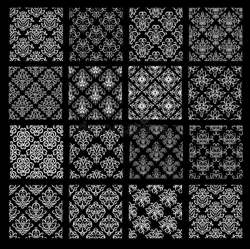 Uppsättning av etniska damast vektormodeller i svartvita färger stock illustrationer