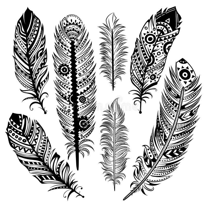 Uppsättning av etniska fjädrar royaltyfri illustrationer