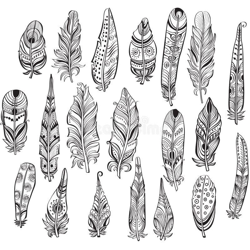 Uppsättning av etniska fjädrar stock illustrationer