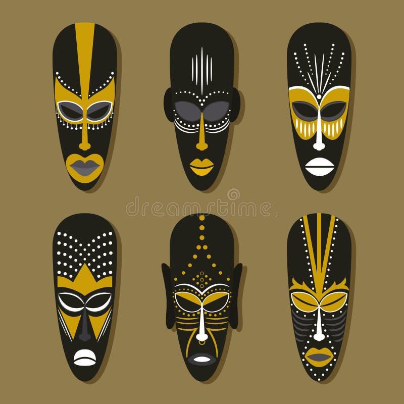 Uppsättning av etniska stam- maskeringar royaltyfri illustrationer