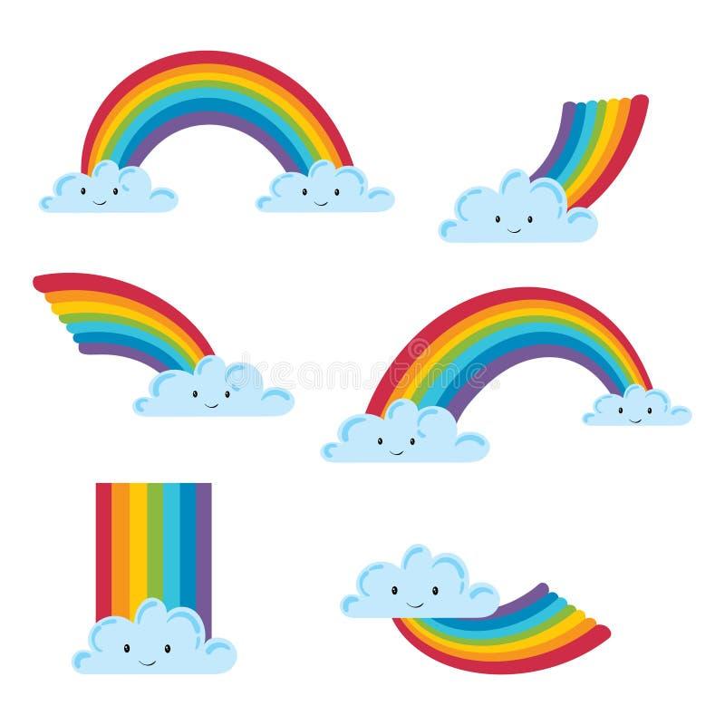 Uppsättning av ett moln med en regnbåge i en tecknad filmstil Samling av moln med regnbågar children illustration royaltyfri illustrationer