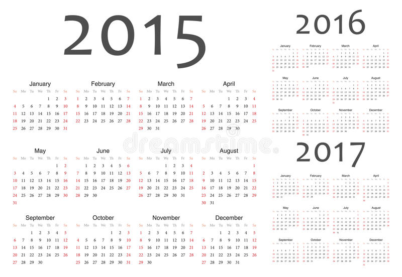 Uppsättning av europén 2015, 2016, 2017 år vektorkalendrar royaltyfri illustrationer