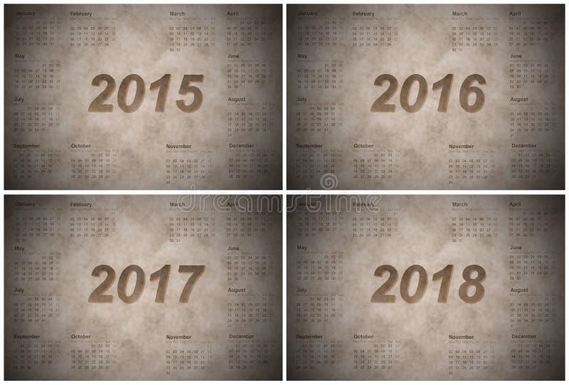Uppsättning av europén 2015, 2016, 2017 och 2018 år stock illustrationer