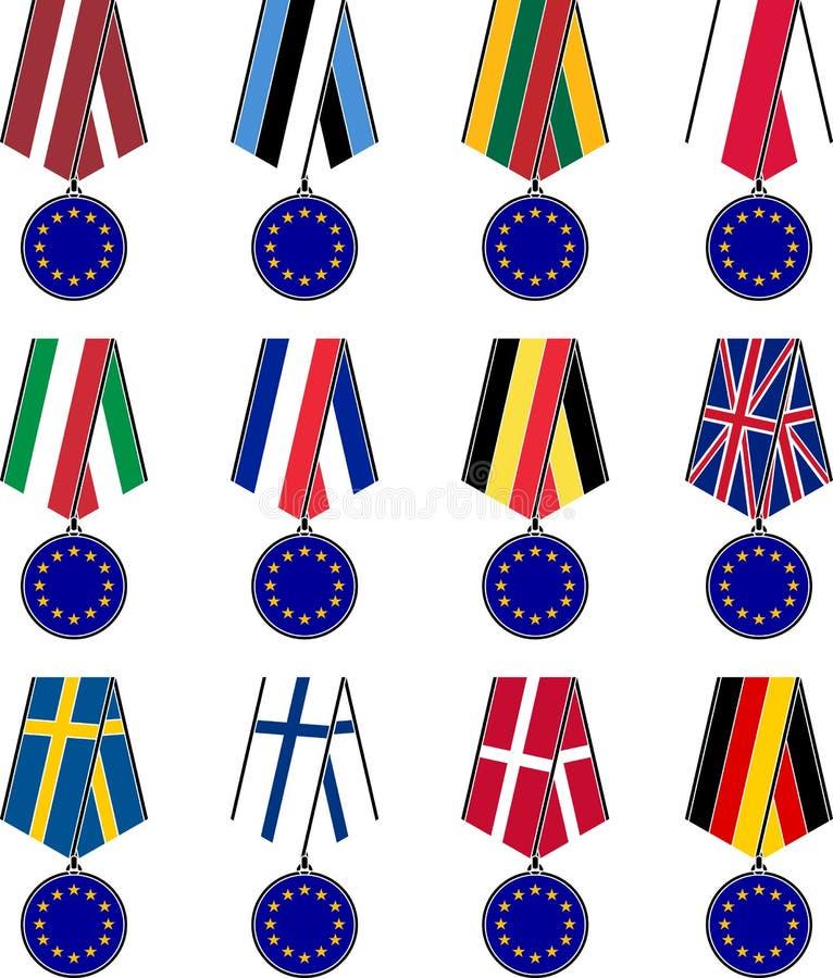 Uppsättning av europeiska medaljer royaltyfri illustrationer