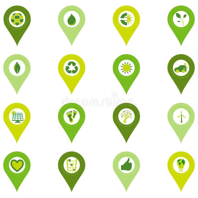 Uppsättning av exakta symboler av miljö- släkta symboler för bio eco stock illustrationer