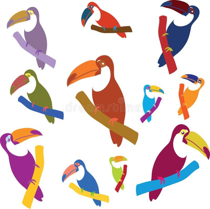 Uppsättning av exotiska färgrika tukan som sitter på filialerna som isoleras på vit vektor illustrationer