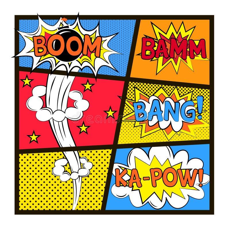 Uppsättning av explosionen i stil för popkonst stock illustrationer