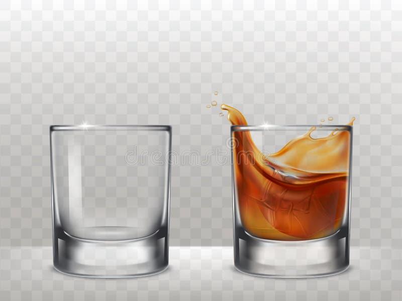 Uppsättning av exponeringsglas för alkohol i en realistisk stil stock illustrationer