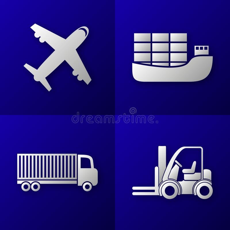 Uppsättning av exportimportsymboler - nivå, lastfartyg, lastbil och gaffeltruck - transport royaltyfri illustrationer