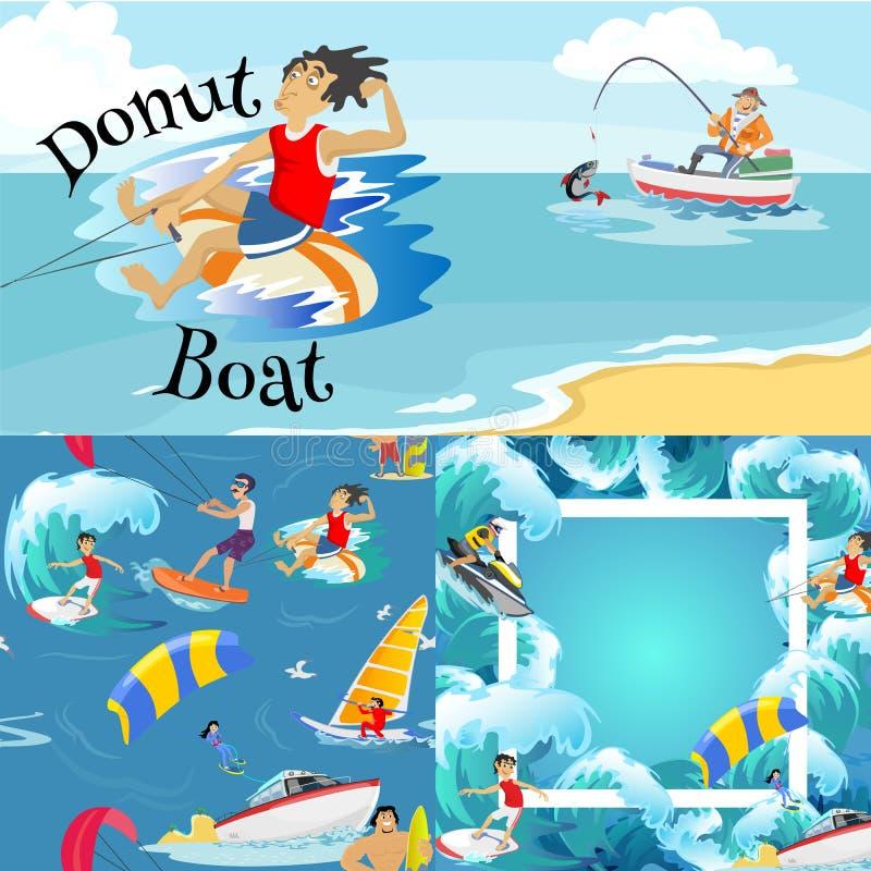 Uppsättning av extrema sportbakgrunder för vatten, isolerade designbeståndsdelar för begrepp för aktivitet för sommarsemester rol stock illustrationer
