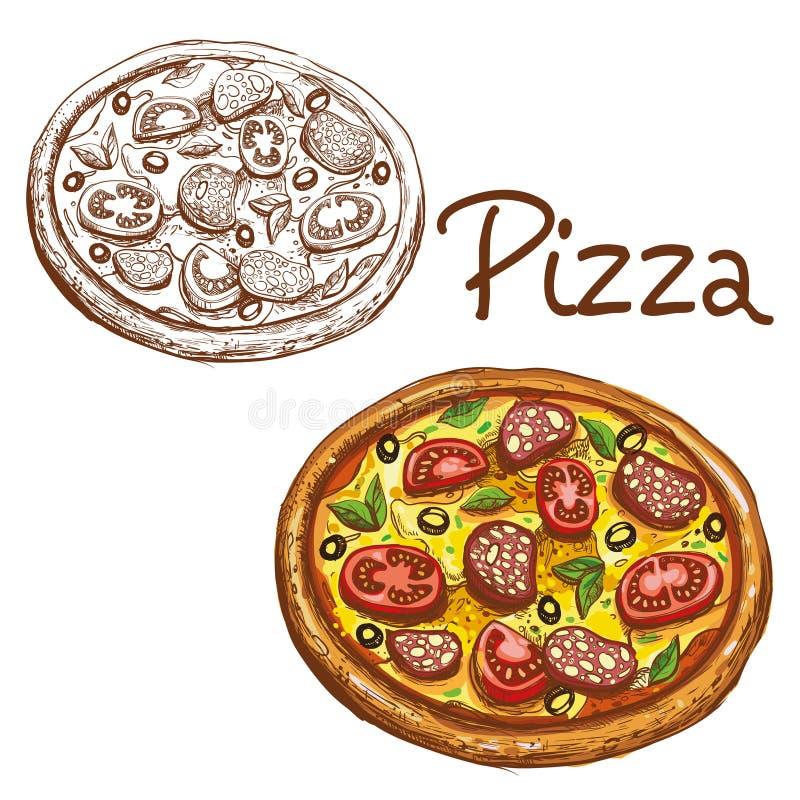 Uppsättning av färg för pizza för vektorillustrationer rund italiensk och svartvitt vektor illustrationer