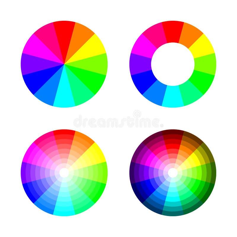 Uppsättning av färg rgb för färghjul 12 på vit bakgrund, vektor stock illustrationer