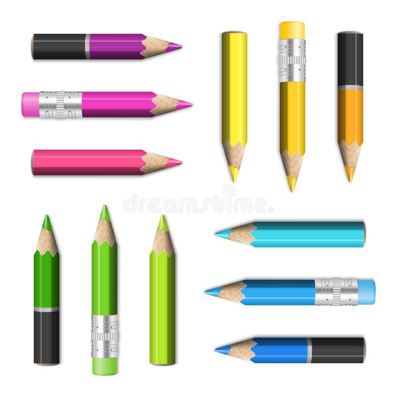 Uppsättning av färgade blyertspennor för skoladesignbeståndsdelar realistiskt kors royaltyfri illustrationer
