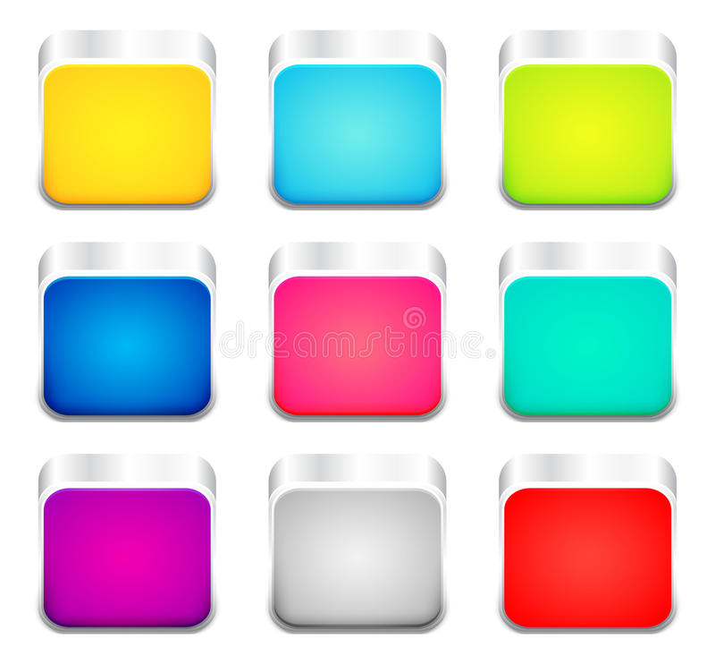 Uppsättning av färgappssymboler vektor illustrationer