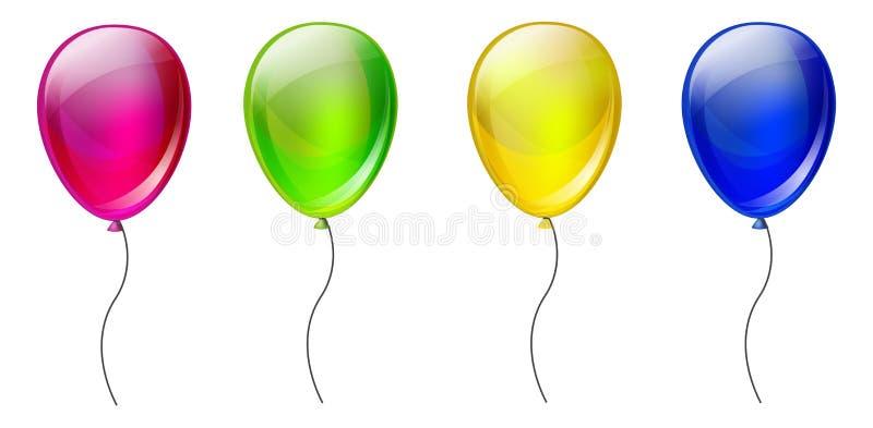 Uppsättning av färgballonger royaltyfri illustrationer