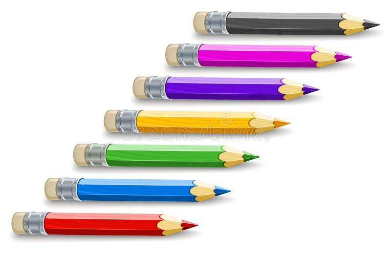 Uppsättning av färgblyertspennor för att dra vektor illustrationer