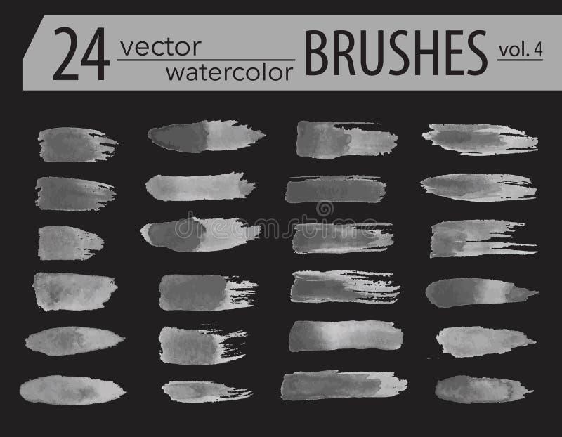 _ Uppsättning av färgpulvermålarfärg Grunge texturerade konstnärliga slaglängder, royaltyfri illustrationer