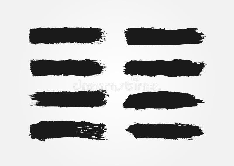 Uppsättning av färgpulverslaglängder Åtta isolerade svartsudd grunge vektor illustrationer
