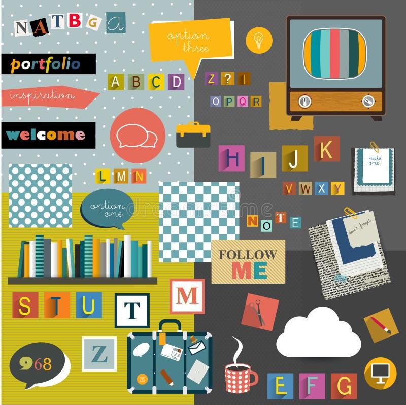 Uppsättning av färgrik collage stock illustrationer