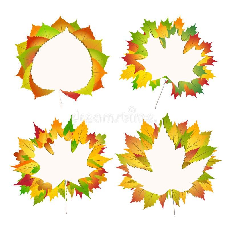 Uppsättning av färgrik höstlönn, björk, kastanjebrun sidabukett på en vitbokbaksida till illustrationen för vektor för skolabakgr stock illustrationer