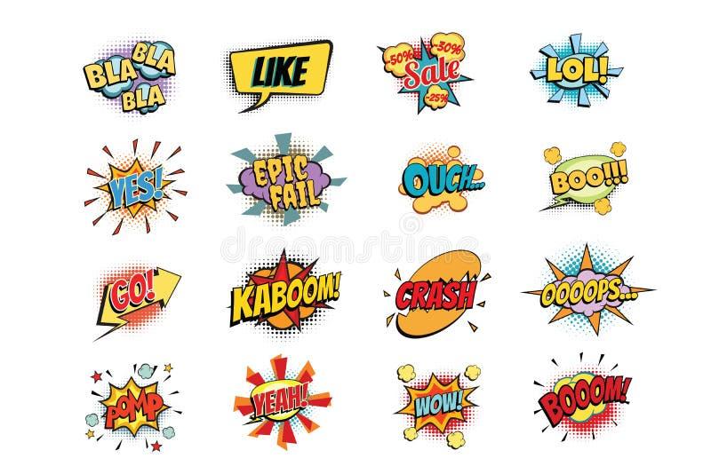 Uppsättning av färgrik komisk anförandebubblaform vektor illustrationer