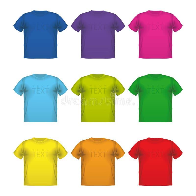 Uppsättning av färgrik manlig printing för t-skjortor vektorkläder royaltyfri illustrationer
