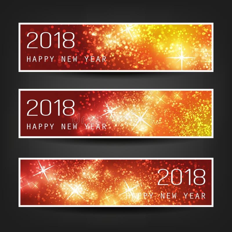 Uppsättning av färgrika abstrakta horisontaltitelrader eller baner för nytt år för året 2018 stock illustrationer