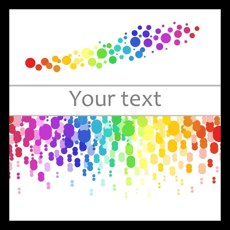 Uppsättning av färgrika abstrakta modeller av kulöra prickar som ner flyttar sig, cirklarna med stället för din text och färgrika royaltyfri illustrationer