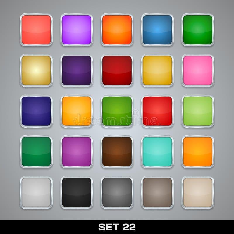 Uppsättning av färgrika App-symbolsmallar, ramar, bakgrunder. Uppsättning 22 royaltyfri illustrationer