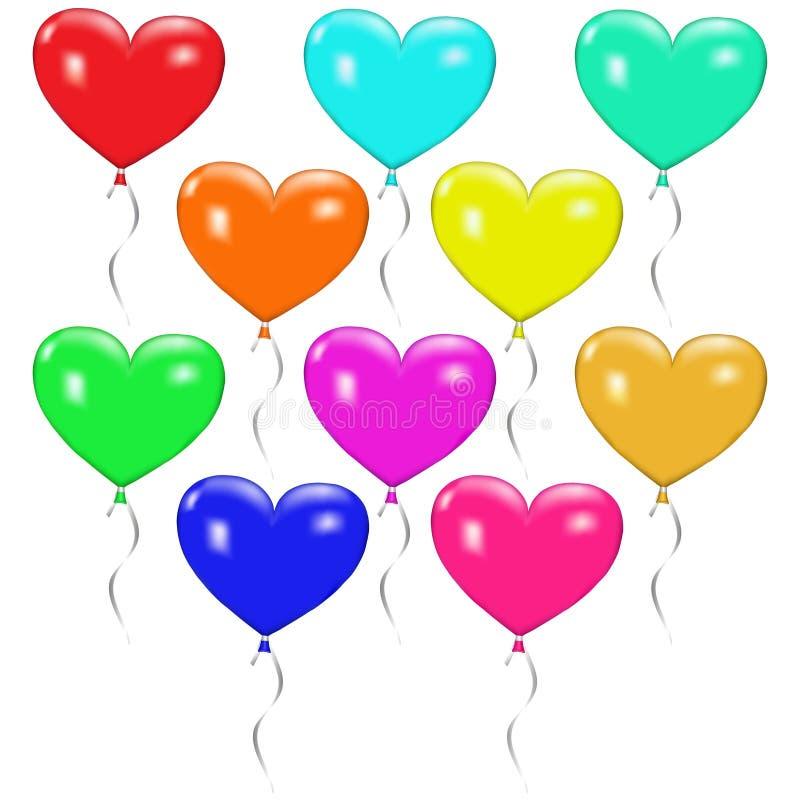 Uppsättning av färgrika ballonger i form av hjärta stock illustrationer
