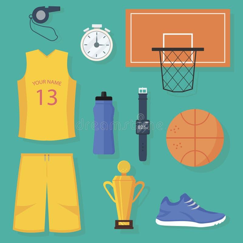 Uppsättning av färgrika basketobjekt Isolerad plan vektordesign royaltyfri fotografi