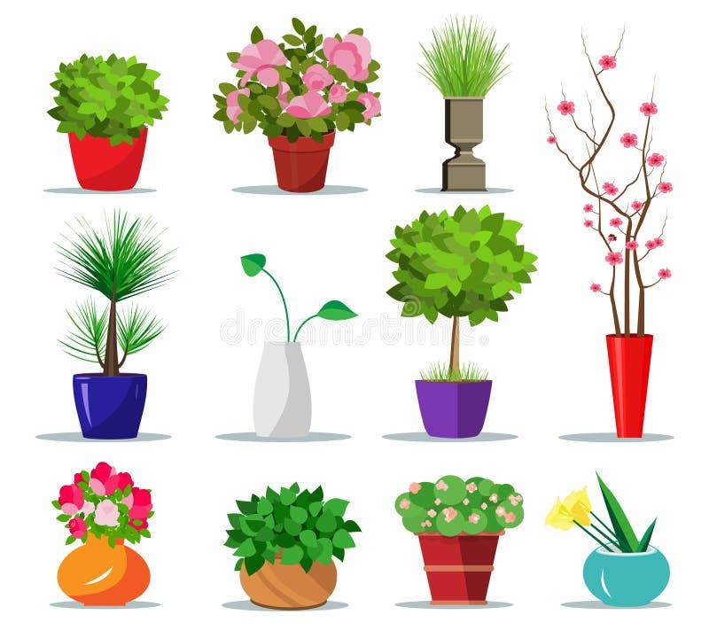 Uppsättning av färgrika blomkrukor och vaser för hus Plan stil lägger in inomhus för växter och blommor också vektor för coreldra royaltyfri illustrationer